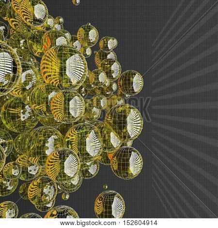 a lot of yellow glass spheres with reflections size carved on a dark background with rectangles.Shape design. Suitable for adding text. Abstract background or wallpaper. 3d illustration