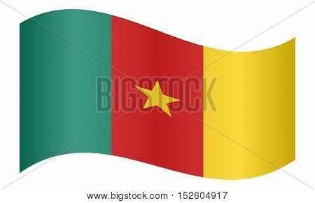 Cameroonian national official flag. African patriotic symbol banner element background. Correct colors. Flag of Cameroon waving on white background vector illustration