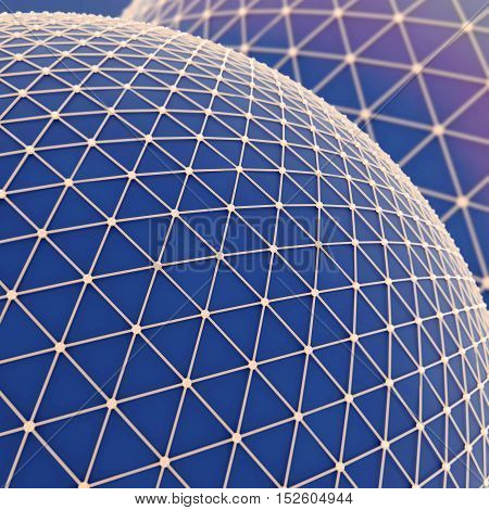 Large blue sphere over which a gold mesh. Global net communication connect. Science technology concept. Abstract background or wallpaper. 3d illustration