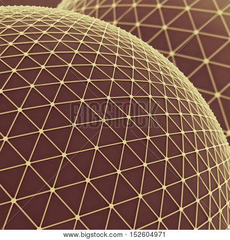 Large sphere over which a gold mesh. Global net communication connect. Science technology concept. Abstract background or wallpaper. 3d illustration