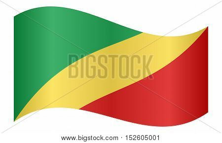 Congo Republic national official flag. African patriotic symbol banner element background. Correct colors. Flag of Republic of the Congo waving on white background vector illustration
