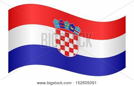 Croatian national official flag. Patriotic symbol banner element background. Correct colors. Flag of Croatia waving on white background vector illustration