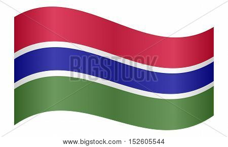 Gambian national official flag. African patriotic symbol banner element background. Correct colors. Flag of the Gambia waving on white background vector illustration
