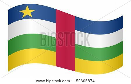 Central Africa national official flag. African patriotic symbol banner element background. Correct colors. Flag of the Central African Republic waving on white background vector illustration