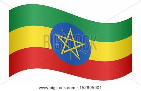 Ethiopian national official flag. African patriotic symbol banner element background. Correct colors. Flag of Ethiopia waving on white background vector illustration