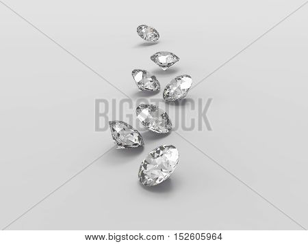 3d scaterring of diamond on gray background