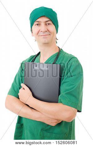 happy male nurse, isolated on white background