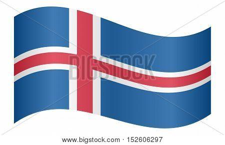 Icelandic national official flag. Patriotic symbol banner element background. Correct colors. Flag of Iceland waving on white background vector illustration