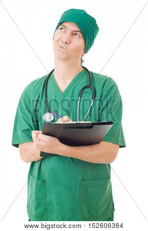 nurse thinking with his notes, isolated over white background