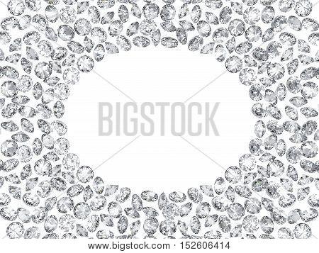 3d diamonds scattering frame on white backgrounds