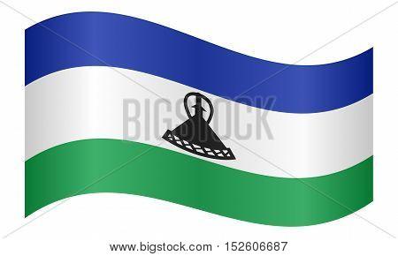 Lesotho national official flag. Basotho african patriotic symbol banner element background. Correct colors. Flag of Lesotho waving on white background vector illustration