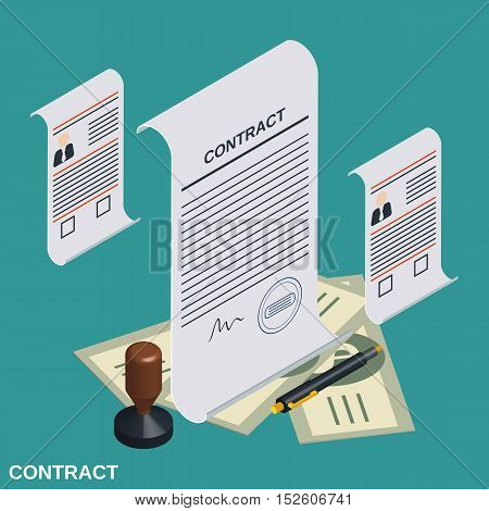 Contract, candidate choice, recruitment flat isometric vector concept