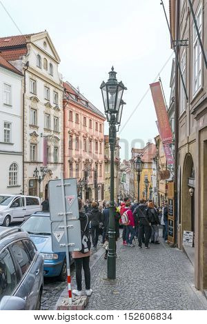 PRAGUE, OCTOBER 15: Nerudova Street leading up to the famous Prague Castle on October 15, 2016 in Prague, Czech Republic. Prague is full of beautiful historic buildings.