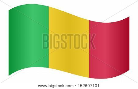 Malian national official flag. African patriotic symbol banner element background. Correct colors. Flag of Mali waving on white background vector illustration