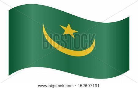 Mauritanian national official flag. African patriotic symbol banner element background. Correct colors. Flag of Mauritania waving on white background vector illustration