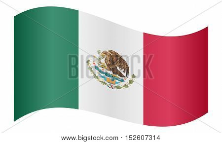 Mexican national official flag. Patriotic symbol banner element background. Correct colors. Flag of Mexico waving on white background vector illustration