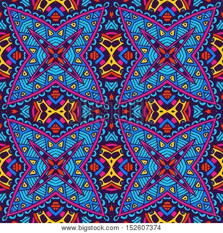 Festive Colorful seamless vector pattern ornamental. Geometric print