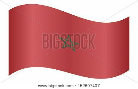 Moroccan national official flag. African patriotic symbol banner element background. Correct colors. Flag of Morocco waving on white background vector illustration