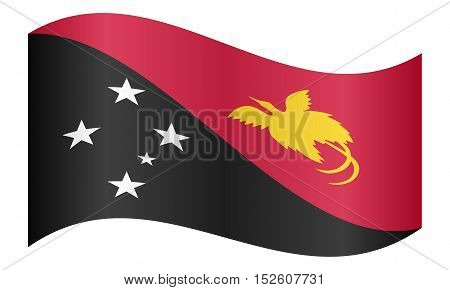 Papua New Guinean national official flag. Papuan patriotic symbol banner element background. Correct colors. Flag of Papua New Guinea waving on white background vector illustration