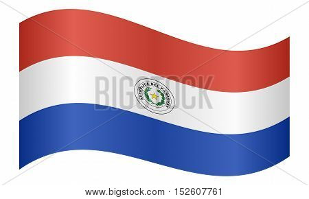 Paraguayan national official flag. Patriotic symbol banner element background. Correct colors. Flag of Paraguay waving on white background vector illustration