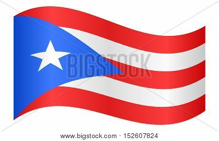 Puerto Rican national official flag. Patriotic symbol banner element background. Correct colors. Flag of Puerto Rico waving on white background vector illustration