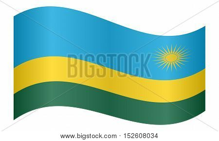 Rwandan national official flag. African patriotic symbol banner element background. Correct colors. Flag of Rwanda waving on white background vector illustration