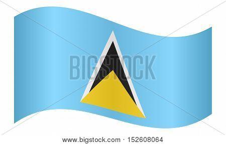 Saint Lucian national official flag. Patriotic symbol banner element background. Correct colors. Flag of Saint Lucia waving on white background vector illustration