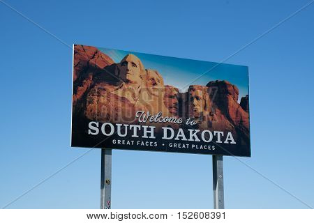 Welcome to South Dakota sign along state border
