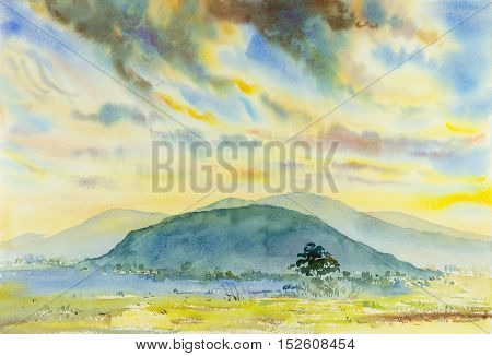 Watercolor original painting Landscape painting colorful illustration mountain forest mountain range