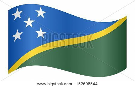 Solomon Island national official flag. Patriotic symbol banner element background. Correct colors. Flag of Solomon Islands waving on white background vector illustration
