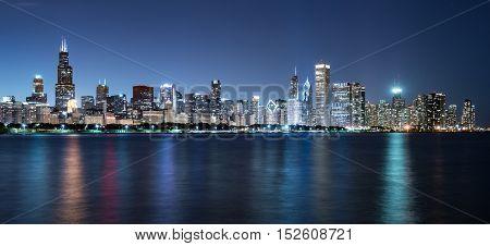 Downtown Chicago Night Skyline across Lake Michigan