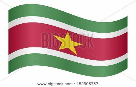 Surinamese national official flag. Patriotic symbol banner element background. Correct colors. Flag of Suriname waving on white background vector illustration