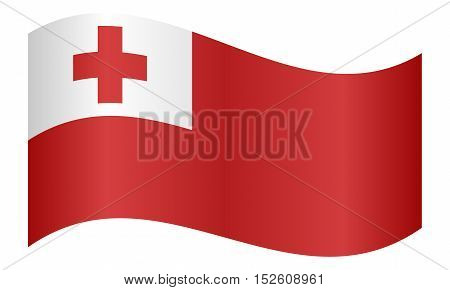 Tongan national official flag. Patriotic symbol banner element background. Correct colors. Flag of Tonga waving on white background vector illustration