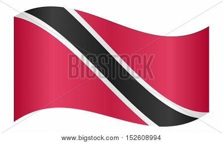 Trinidadian and Tobagonian national official flag. Patriotic symbol banner element background. Correct colors. Flag of Trinidad and Tobago waving on white background vector illustration