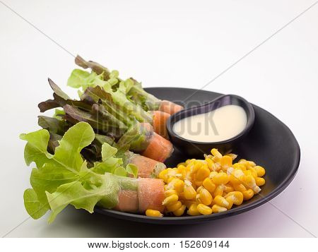 fresh vegetable salad placed on a white background.