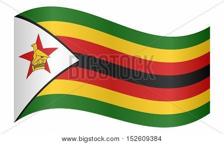Zimbabwean national official flag. African patriotic symbol banner element background. Correct colors. Flag of Zimbabwe waving on white background vector illustration
