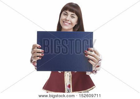 Smiling Female Brunette Holding Blank Blue Plate for Text in Front. Focus on Board. Isolated Against White. Horizontal Image