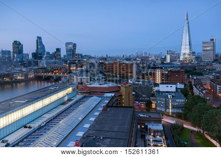 Sunset panorama of city of London and Thames river, England, Great Britain
