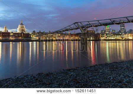 Amazing Night panorama of St. Paul's Cathedral from Thames river, London, England, Great Britain