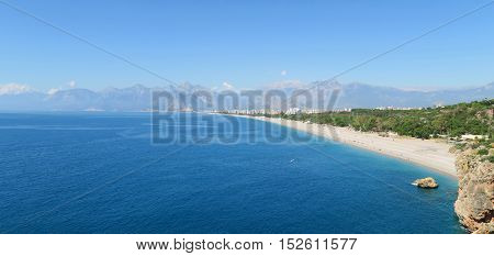 View from the Cliffs of Antalya to Konyaalti, Konyaalti Beach and the Taurus Mountains
