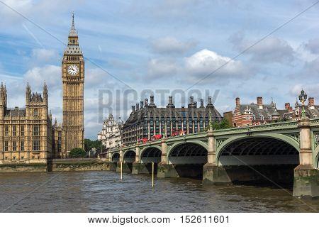 Amazing view of Westminster Bridge and Big Ben, London, England, United Kingdom