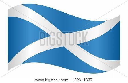 Scottish national official flag. Patriotic symbol banner element background. Correct colors. Flag of Scotland waving on white background vector illustration