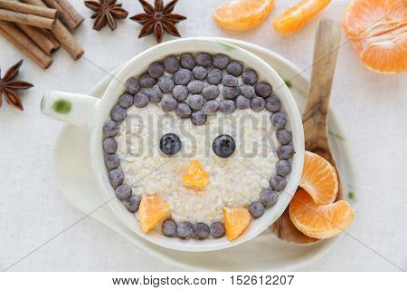 Penguin Porridge Oatmeal Breakfast , Fun Food Art For Kids