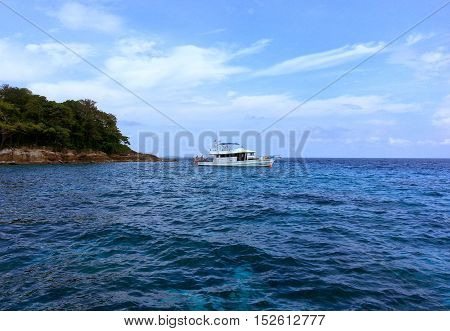 The boat Coral reef snorkeling nearby phuket island