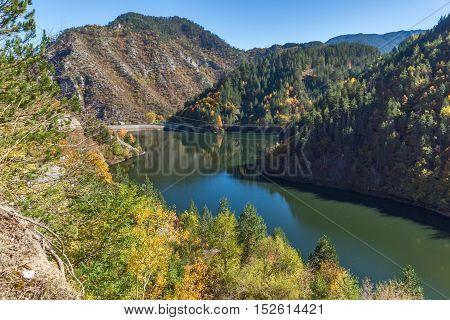 Autumn Panorama of Teshel  Reservoir, Smolyan Region, Bulgaria