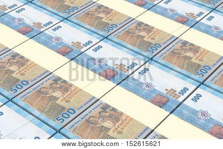 Syrian pounds bills stacks background. 3D illustration.