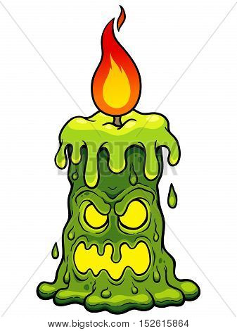 Vector illustration of Cartoon Halloween Candle Monster
