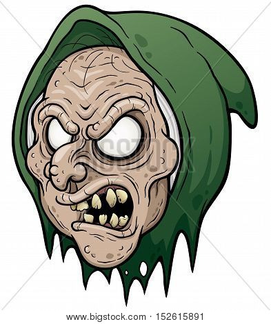 Vector illustration of Cartoon Old Witch face