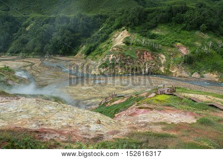 Alluvial plain of drying Geysernoye Lake in Valley of Geysers. Kronotsky Nature Reserve on Kamchatka Peninsula.