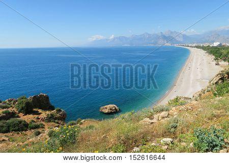 Konyaalti Beach and Mediterranian Sea in Antalya Turkey